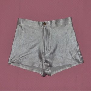 American apparel silver disco shorts size xs